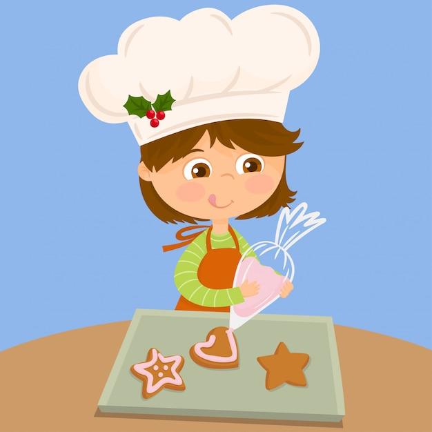Menina no topo de um biscoito com creme usando um saco de confeitar Vetor Premium