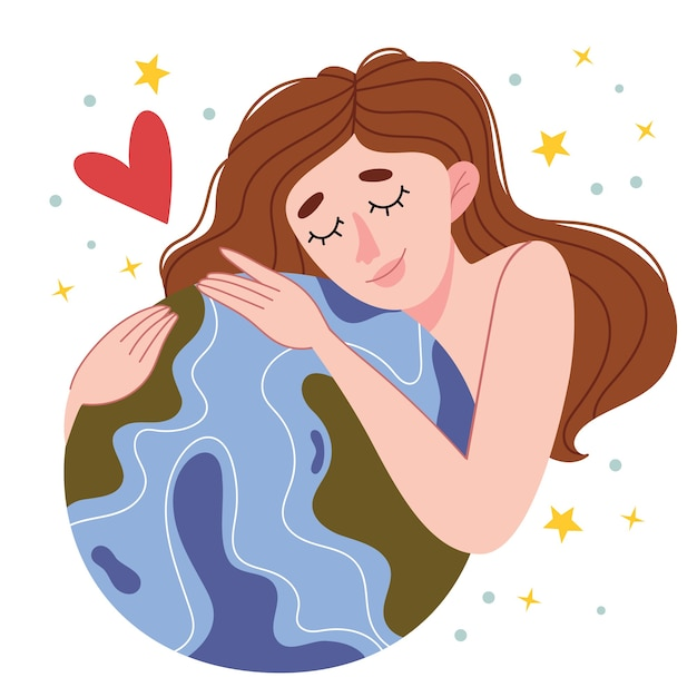 Menina nua abraça o planeta. reavaliação do conceito de modo de vida ecológico. dia da terra. amor pelo planeta. minimalisn. natureza. Vetor Premium