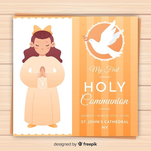 Menina, orando, primeiro, comunhão, convite Vetor grátis