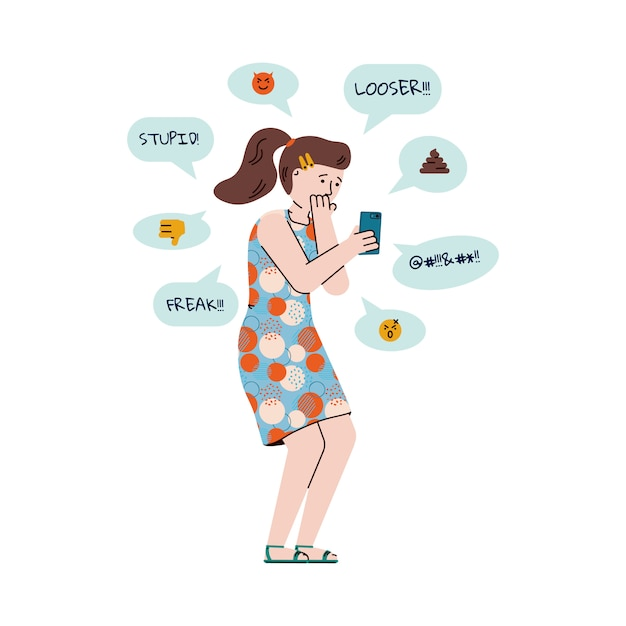 Menina ou adolescente recebendo mensagens de bullying ilustração vetorial dos desenhos animados isolada. Vetor Premium