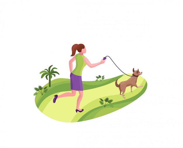 Menina passeando com o cachorro no parque Vetor Premium