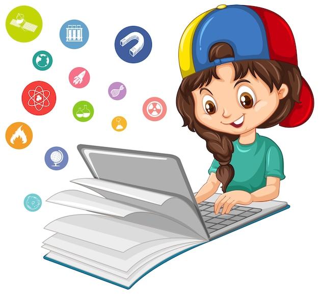 Menina pesquisando no laptop com o ícone de educação isolado Vetor Premium