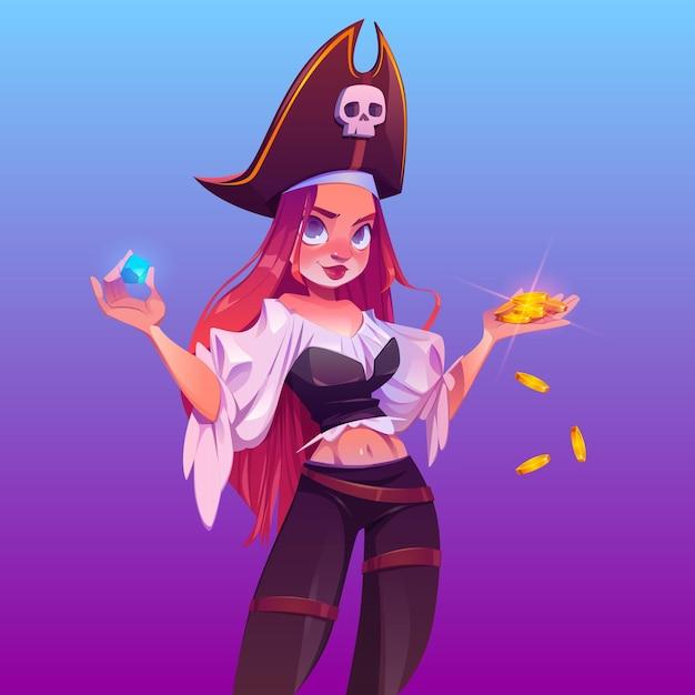 Menina pirata com tesouro, capitã com cabelo ruivo e chapéu com caveira. Vetor grátis