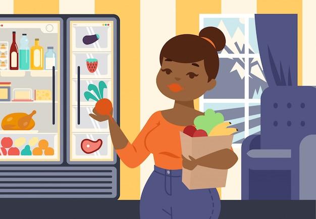 Menina positiva do tamanho que guarda o saco de papel com vegetais orgânicos e ilustração do vetor da fruta. garota na loja de alimentos, compras de produtos saudáveis, frescos e orgânicos. Vetor Premium