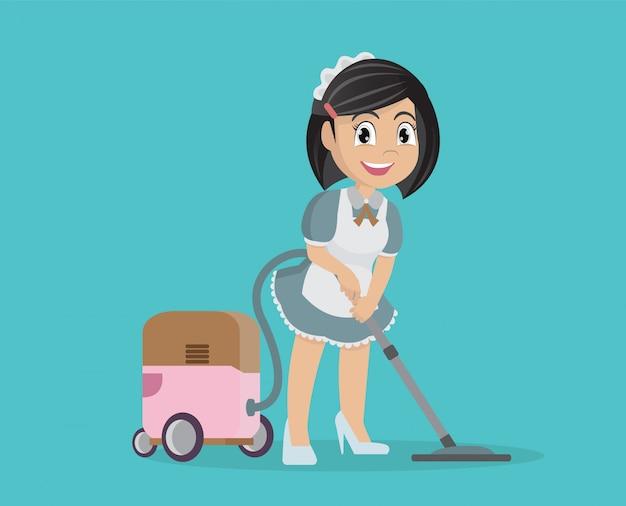 Menina que usa o aspirador de p30 para limpar a casa. Vetor Premium