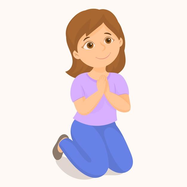 Menina rezando ajoelhado Vetor Premium