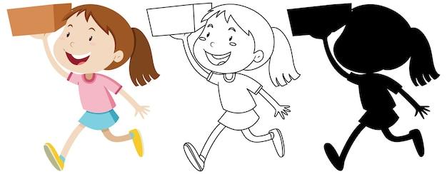 Menina segurando a caixa com seu contorno e silhueta Vetor grátis