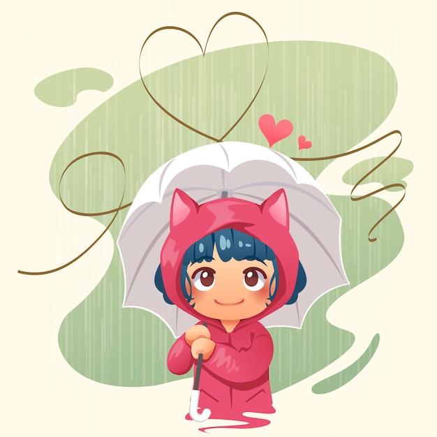 Menina, segurando guarda-chuva, em, a, chuva, e, abstratos, coração Vetor Premium