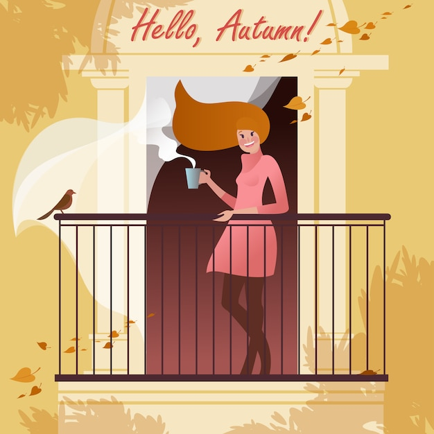 Menina sorridente com uma xícara de café na varanda. de cenas urbanas de outono. Vetor Premium