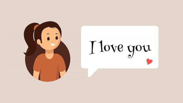Menina sorridente dos desenhos animados usando o messenger Vetor Premium
