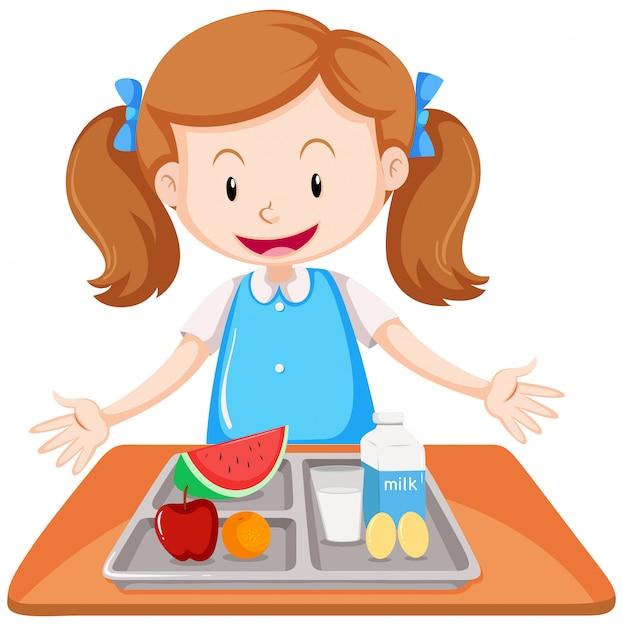 Menina, tendo almoço, ligado, tabela Vetor grátis