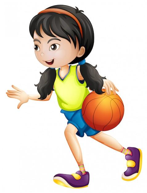 Menina, tocando, basquetebol, fundo branco Vetor grátis