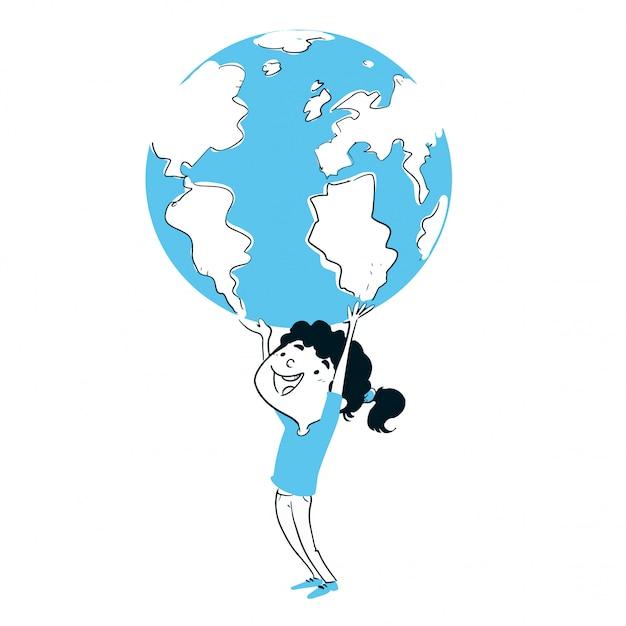 Menina, tocando, com, a, terra planeta Vetor Premium