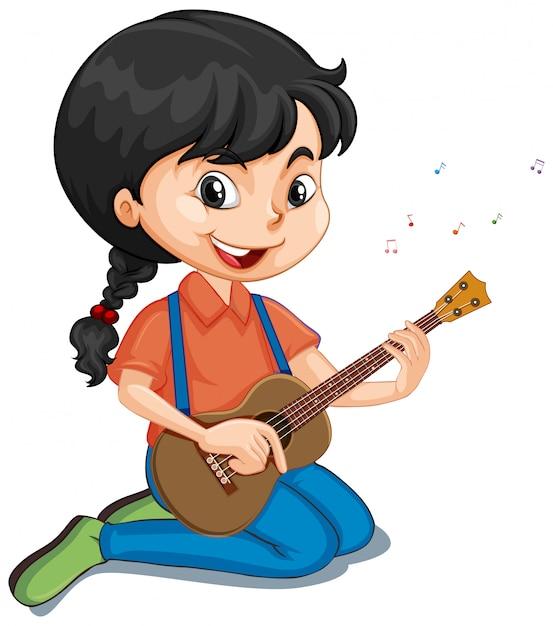 Menina tocando violão em branco Vetor grátis