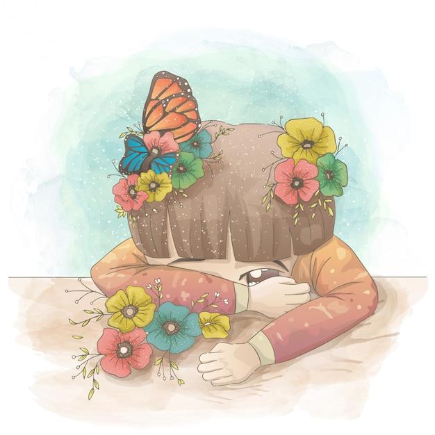 Menina Triste Que Esconde Atras De Sua Mao Com Flores E Borboletas