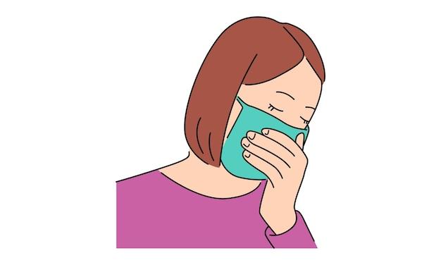 Menina usando máscara protetora Vetor Premium