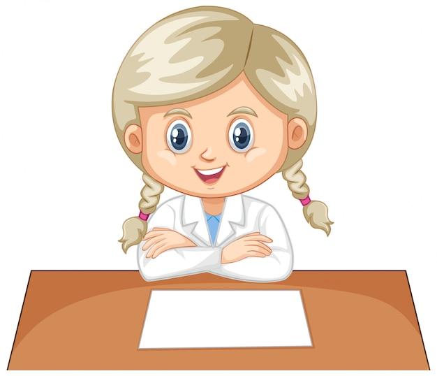 Menina vestindo avental de laboratório em branco Vetor grátis