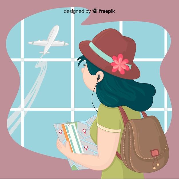 Menina, viajando, fundo Vetor grátis