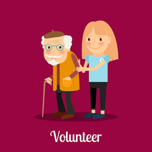 Menina voluntária cuidando do homem idoso Vetor Premium