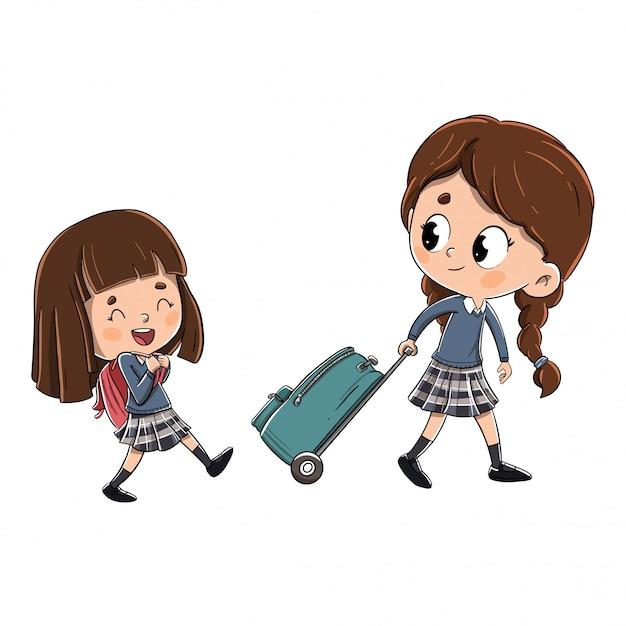 Meninas a caminho da escola Vetor Premium