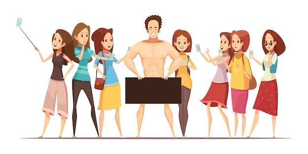 Meninas adolescentes, fazer, fotos, com, eletrônico, dispositivos, de, macho, modelo, em, estúdio arte, retro, caricatura, vetorial, ilustração Vetor grátis