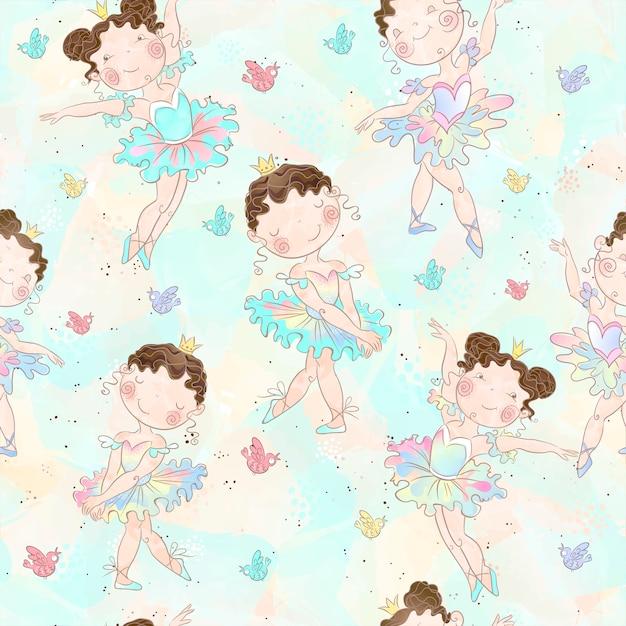 Meninas adoráveis bailarinas dançando padrão Vetor Premium