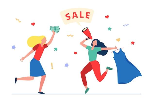 Meninas comemorando a venda na loja de moda. mulheres dançando, anunciando a venda, comprando roupas de ilustração vetorial plana. compras, descontos, conceito de marketing, design do site ou página inicial da web Vetor grátis
