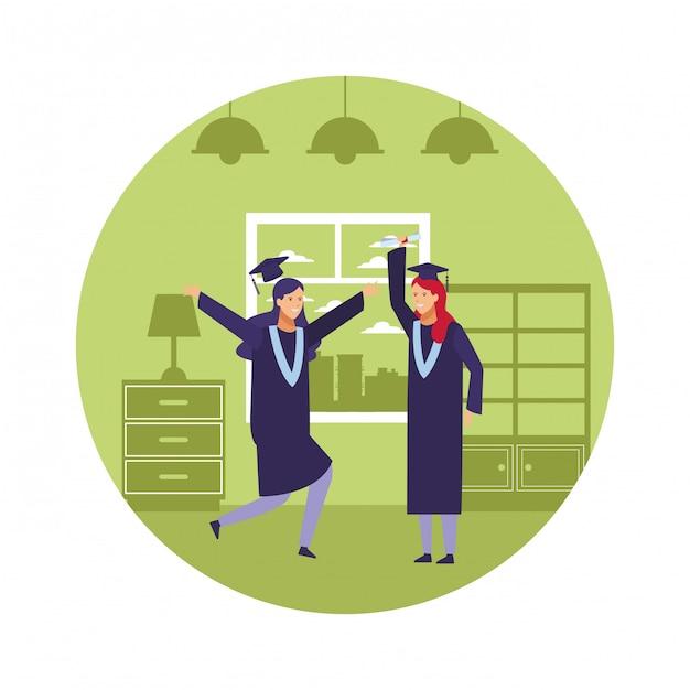 Meninas da celebração da graduação Vetor Premium