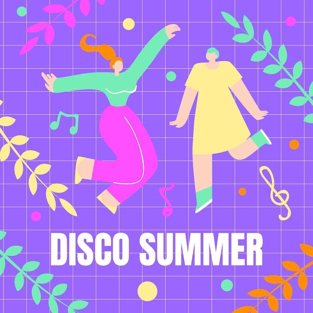 Meninas dançando, cartaz disco verão cartoon flat Vetor Premium