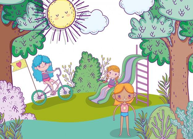 Meninas de beleza brincar com slide e andar de bicicleta Vetor Premium