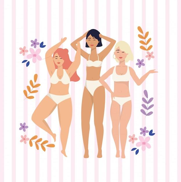 Meninas de beleza com roupas de baixo e ramos de plantas Vetor grátis