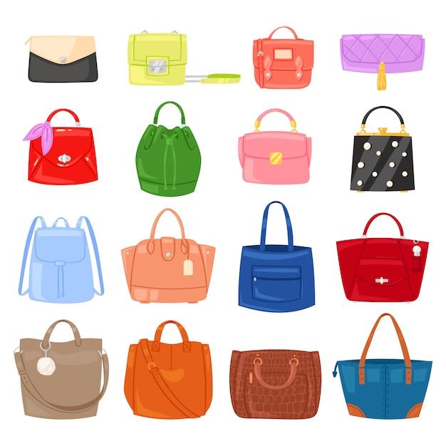 Meninas de bolsa de mulher bolsa ou bolsa e sacola de compras ou embreagem de ilustração de loja de moda folgado Vetor Premium