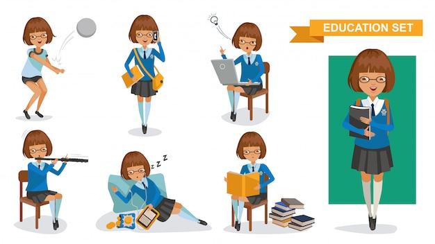 Meninas do ensino médio definido. conceito de atividade de estudante. Vetor Premium