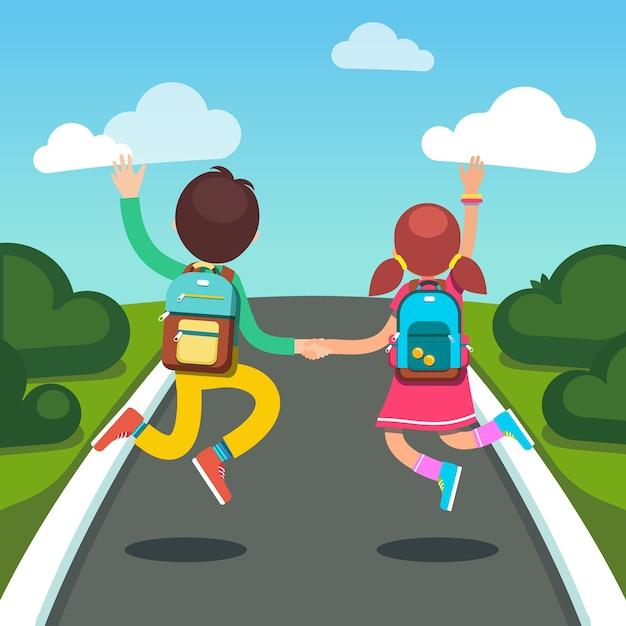 Meninas e meninas em um caminho para a escola Vetor grátis