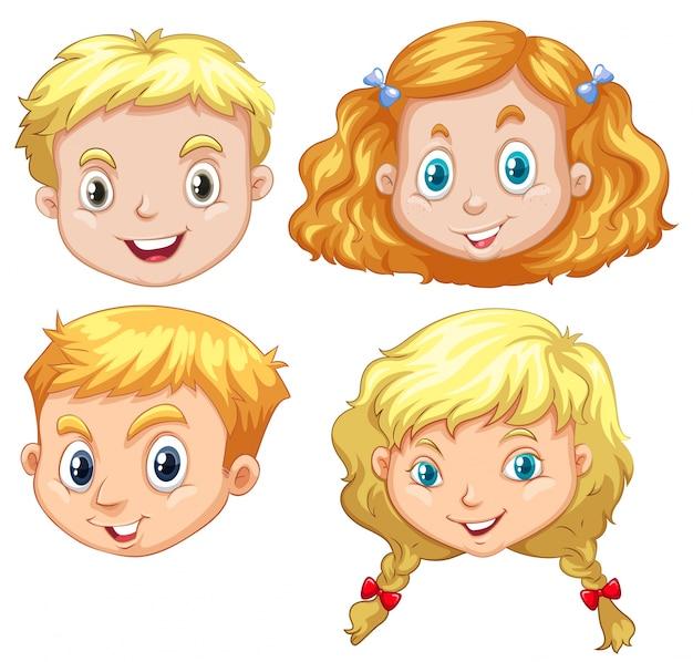 Meninas e meninos com ilustração do cabelo loiro Vetor grátis
