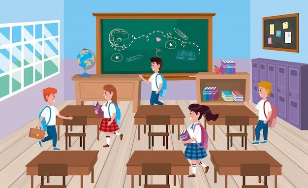 Meninas e meninos estudantes na sala de aula com quadro-negro Vetor grátis