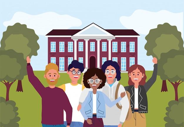 Meninas e meninos na universidade de educação para aprender Vetor Premium