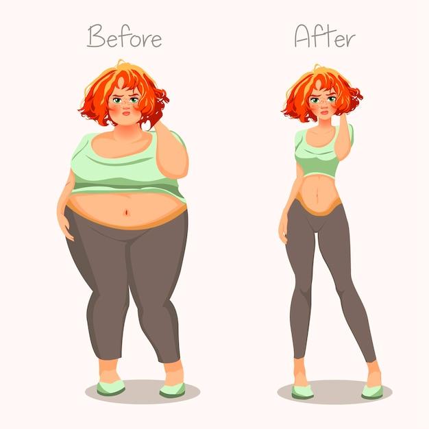 Meninas gordas e magras. Vetor Premium