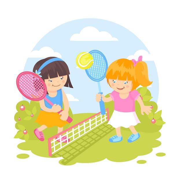 Meninas, jogando tênis Vetor grátis