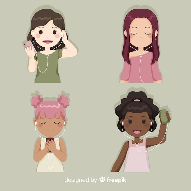 Meninas jovens curtindo e ouvindo música Vetor grátis