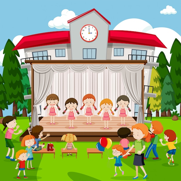 Meninas jovens em show de bailarina Vetor Premium