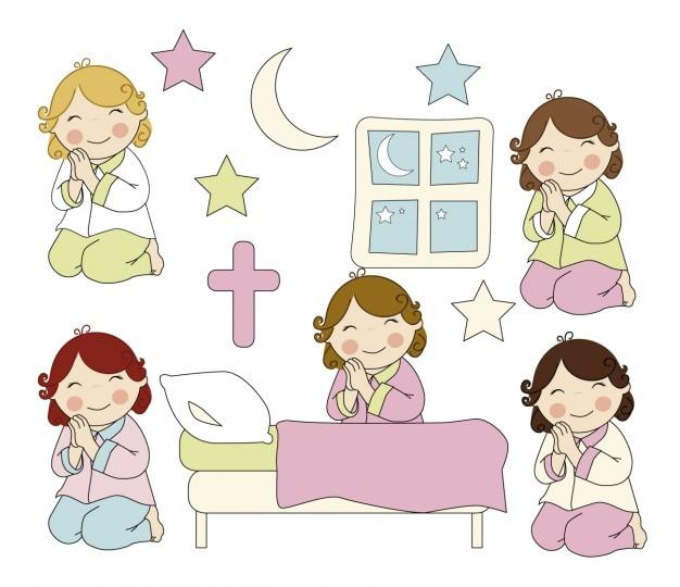 Meninas orando Vetor grátis