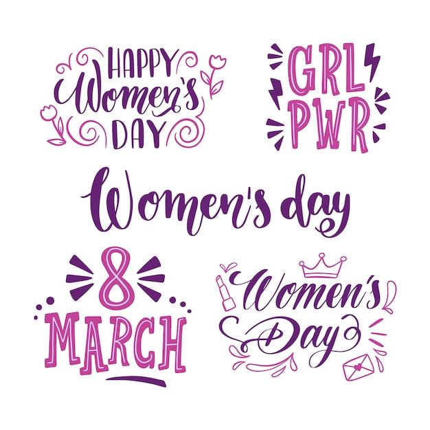 Meninas poder letras coleção coleção dia das mulheres Vetor grátis