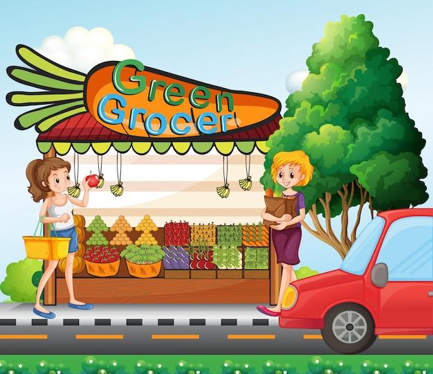 Meninas que compram ingredientes frescos Vetor grátis