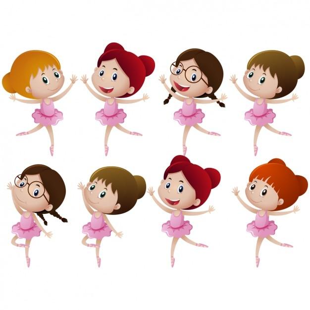 Meninas que dançam coleção Vetor grátis