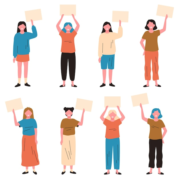 Meninas segurando cartazes. mulher jovem com cartazes vazios, demonstração de personagens femininas ou conjunto de ilustração vetorial de protesto pacífico Vetor Premium