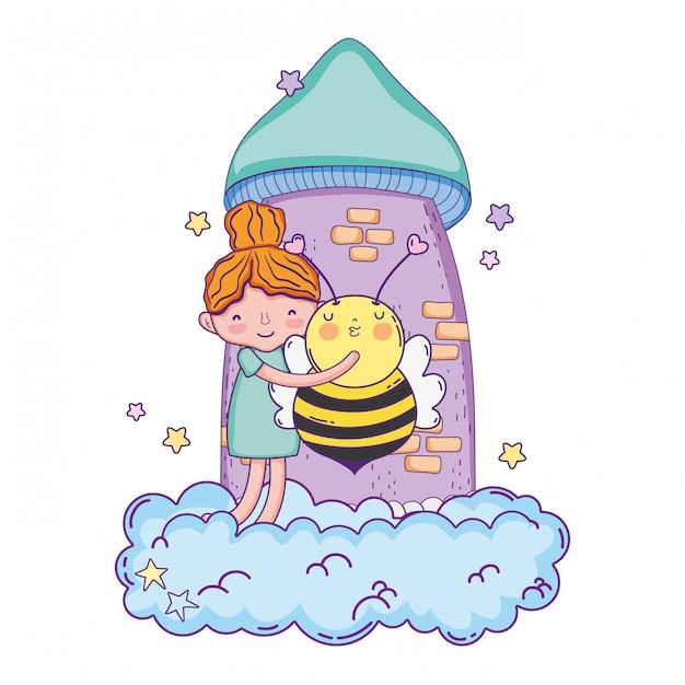 Menininha, com, abelha, kawaii, personagem Vetor Premium