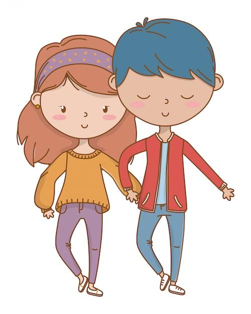 Menino adolescente, e, menina, de, caricatura Vetor grátis