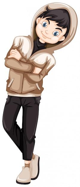 Menino adolescente, em, capuz marrom Vetor grátis