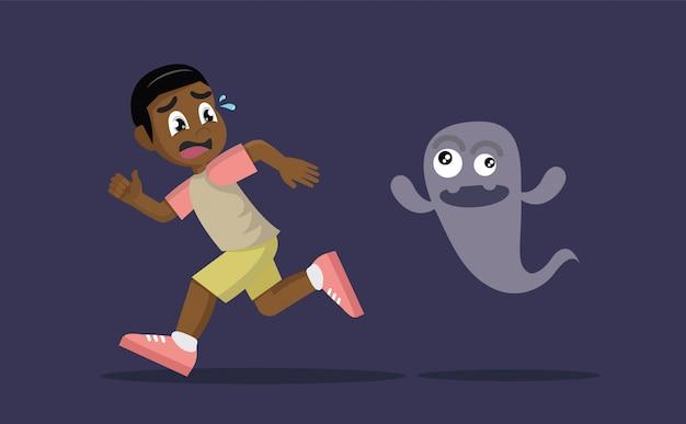 Menino africano, fugindo do fantasma. Vetor Premium